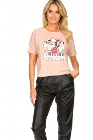 ba&sh | Katoenen T-shirt met opdruk Pink | roze   | Afbeelding 4