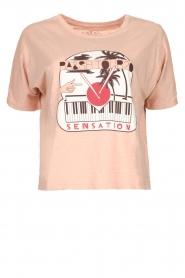 ba&sh | Katoenen T-shirt met opdruk Pink | roze   | Afbeelding 1