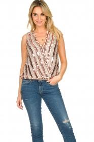 Nenette |  Sequin blouse Fassia | pink  | Picture 4