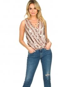 Nenette |  Sequin blouse Fassia | pink  | Picture 5