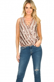 Nenette |  Sequin blouse Fassia | pink  | Picture 2