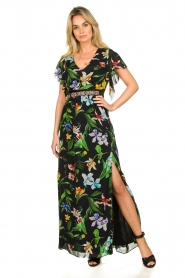 Nenette |  Floral maxi dress Audace | black  | Picture 2