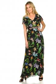 Nenette |  Floral maxi dress Audace | black  | Picture 3