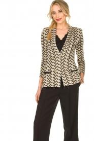 Nenette |  Print blazer with lurex Linus | black  | Picture 4
