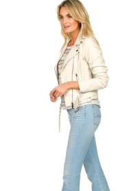 STUDIO AR BY ARMA |  Leather biker jacket with belt Kourtney | naturel  | Picture 5