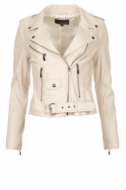 STUDIO AR BY ARMA |  Leather biker jacket with belt Kourtney | naturel  | Picture 1