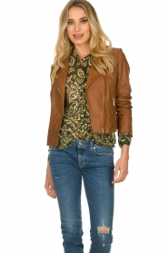 STUDIO AR BY ARMA |  Leather biker jacket Gomera | brown  | Picture 2