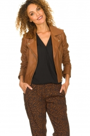 STUDIO AR BY ARMA |  Leather biker jacket Gomera | brown  | Picture 2