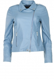 STUDIO AR BY ARMA |  Leather biker jacket Lois | blue  | Picture 1