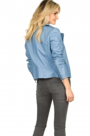 STUDIO AR BY ARMA |  Leather biker jacket Lois | blue  | Picture 6