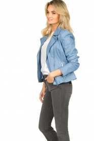 STUDIO AR BY ARMA |  Leather biker jacket Lois | blue  | Picture 5