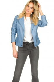 STUDIO AR BY ARMA |  Leather biker jacket Lois | blue  | Picture 2