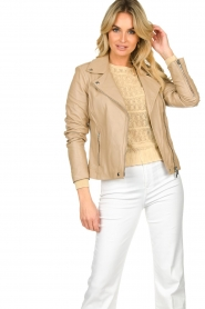 STUDIO AR BY ARMA |  Leather biker jacket Lois | beige  | Picture 2