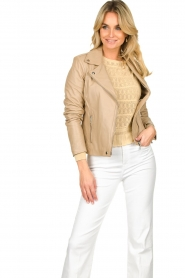 STUDIO AR BY ARMA |  Leather biker jacket Lois | beige  | Picture 5