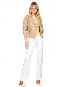 STUDIO AR BY ARMA |  Leather biker jacket Lois | beige  | Picture 3