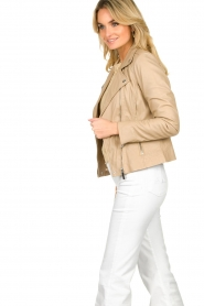 STUDIO AR BY ARMA |  Leather biker jacket Lois | beige  | Picture 6