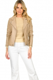 STUDIO AR BY ARMA |  Leather biker jacket Lois | beige  | Picture 4