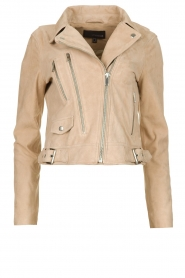 STUDIO AR BY ARMA |  Suede biker jacket Maxime | beige  | Picture 1