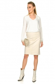 STUDIO AR BY ARMA |  Leather skirt Carly | natural  | Picture 3