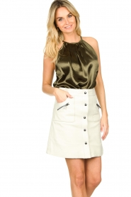 STUDIO AR BY ARMA |  Leather skirt Lys | white   | Picture 4