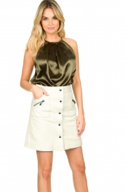 STUDIO AR BY ARMA |  Leather skirt Lys | white   | Picture 5