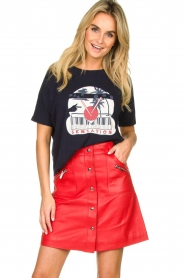 STUDIO AR BY ARMA |  Leather skirt Lys | red  | Picture 2