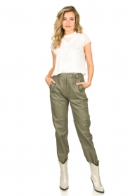 STUDIO AR BY ARMA |  Leather pants Peyton | green  | Picture 3