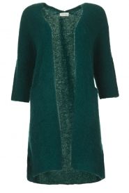 American Vintage |  Long cardigan from wool blend Vacaville | green  | Picture 1