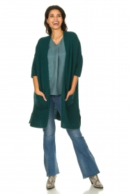 American Vintage |  Long cardigan from wool blend Vacaville | green  | Picture 3