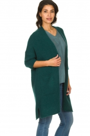 American Vintage |  Long cardigan from wool blend Vacaville | green  | Picture 4