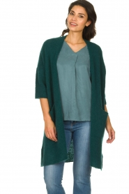American Vintage |  Long cardigan from wool blend Vacaville | green  | Picture 2