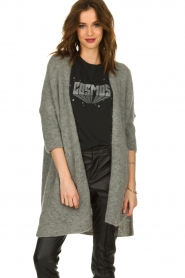 American Vintage |  Long cardigan from wool blend Vacaville | grey  | Picture 4