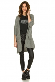American Vintage |  Long cardigan from wool blend Vacaville | grey  | Picture 3