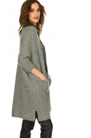 American Vintage |  Long cardigan from wool blend Vacaville | grey  | Picture 5