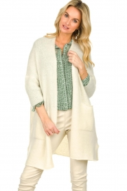 American Vintage |  Long cardigan from wool blend Vacaville | natural  | Picture 4