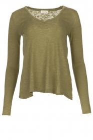 American Vintage |  Basic V-neck top Kobibay |  green  | Picture 1