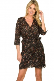 Freebird |  Lurex floral dress Odette | black  | Picture 4