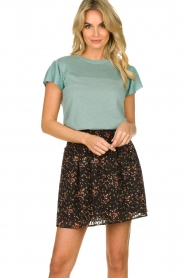 Freebird |  Floral skirt with lurex Fee | black  | Picture 2