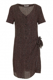 Freebird |  Print dress with wrap skirt Kady | black  | Picture 1