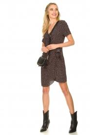 Freebird |  Print dress with wrap skirt Kady | black  | Picture 3