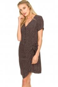 Freebird |  Print dress with wrap skirt Kady | black  | Picture 4
