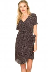 Freebird |  Print dress with wrap skirt Kady | black  | Picture 2