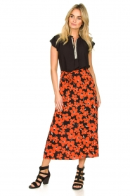 Freebird |  Floral midi skirt Willa | red  | Picture 2