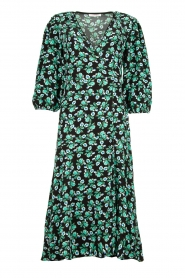 Freebird |  Maxi wrap dress with flower print Belia | green  | Picture 1