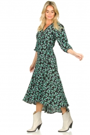 Freebird |  Maxi wrap dress with flower print Belia | green  | Picture 3