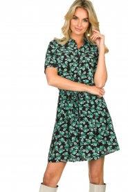 Freebird |  Mini dress with flower print Suzy | green  | Picture 2