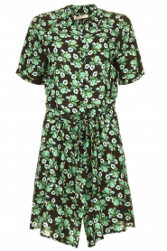 Freebird |  Mini dress with flower print Suzy | green  | Picture 1