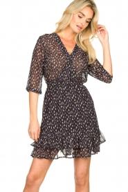 Freebird | Mini jurk met ruches Ammely | zwart   | Afbeelding 4