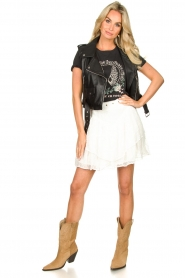 Sofie Schnoor |  T-shirt with print Cady | black  | Picture 3