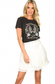 Sofie Schnoor |  T-shirt with print Cady | black  | Picture 4
